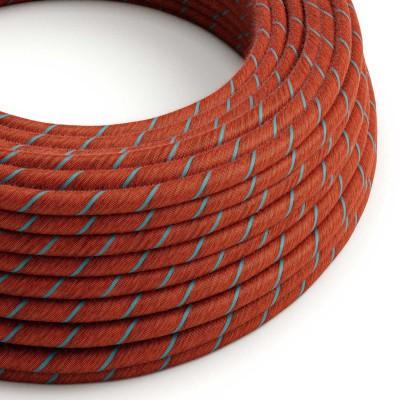 Textilní elektrický kabel pokrytý bavlnou Vertigo ERC36 - cihlový a světle modrý