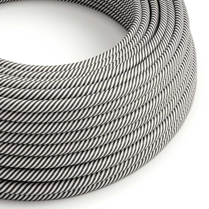 Textilní elektrický HD kabel s tenkými pruhy Vertigo ERM37 - bílá a břidlicová