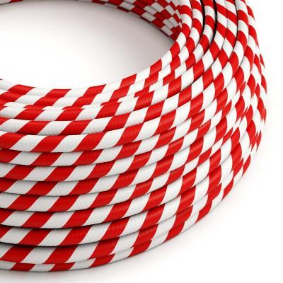 Textilní elektrický HD kabel s pruhy Vertigo ERM39 - bílá a červená