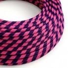 Textilní elektrický HD kabel s pruhy Vertigo ERM41 Cheshire - růžová a tmavě modrá
