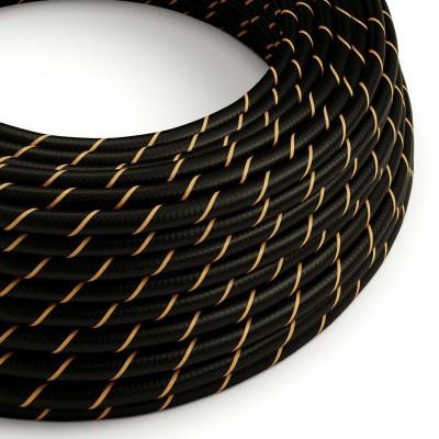 Textilní elektrický HD kabel s pruhy Vertigo ERM42 - černá a zlatá