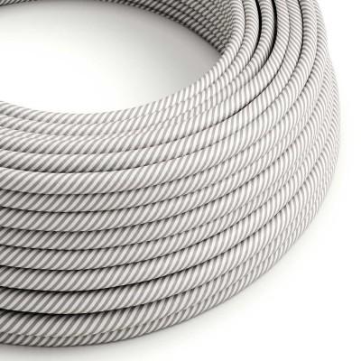 Textilní elektrický HD kabel s pruhy Vertigo ERM46 - bílá a hliníková