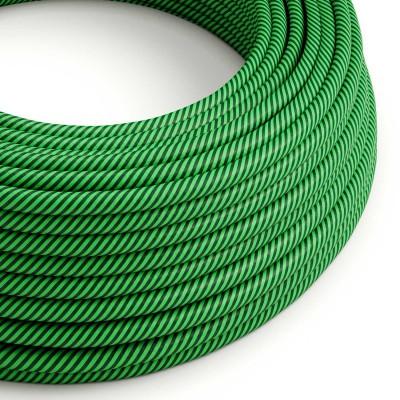 Textilní elektrický HD kabel s pruhy Vertigo ERM48 - kiwi a tmavě zelená