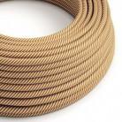 Textilní elektrický HD kabel s pruhy Vertigo ERM49 - bílá a whisky