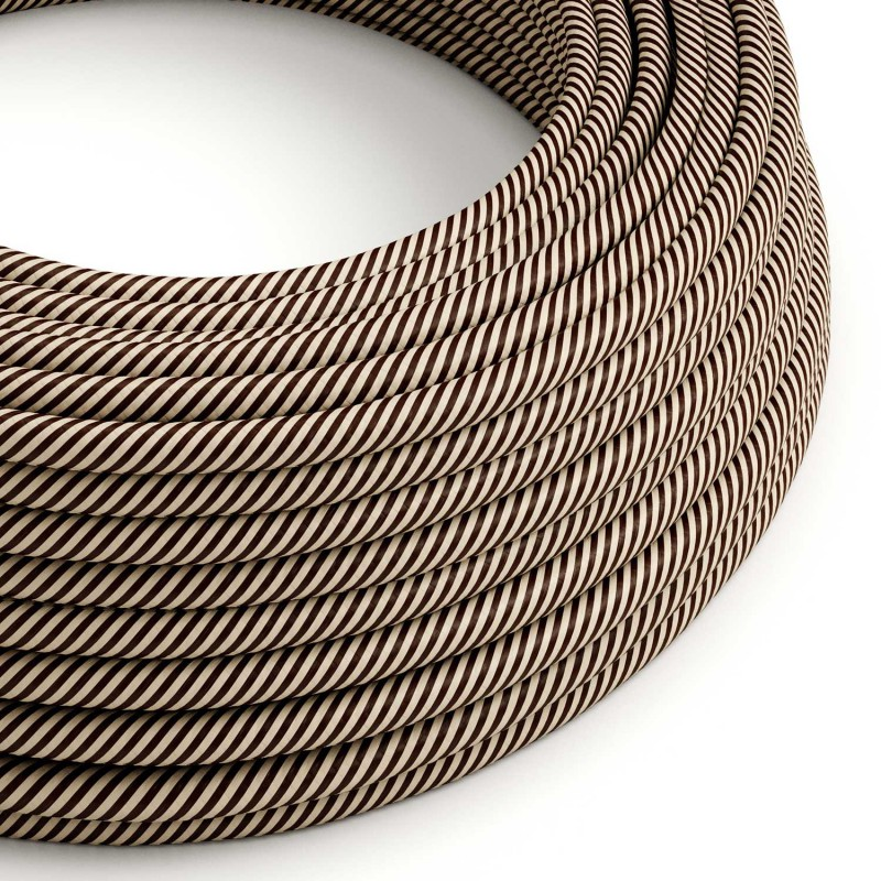 Textilní elektrický HD kabel s pruhy Vertigo ERM51 - písková a tmavě hnědá