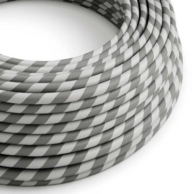 Textilní elektrický HD kabel s pruhy Vertigo ERM55 - stříbrná a šedá