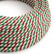 Kulatý elektrický HD kabel s pruhy Vertigo ERM58 Rome - zelená, bílá, červená