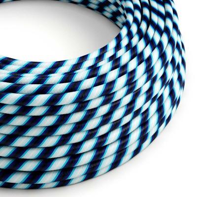 Kulatý elektrický HD kabel s pruhy Vertigo ERM60 Mr Blue - modré odstíny