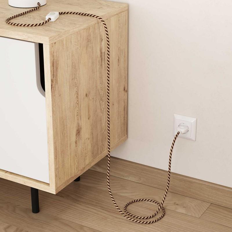 Kulatý elektrický HD kabel s pruhy Vertigo ERM61 Mr Brown - hnědé odstíny