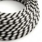 Kulatý elektrický HD kabel s pruhy Vertigo ERM63 Mr Grey - šedé odstíny