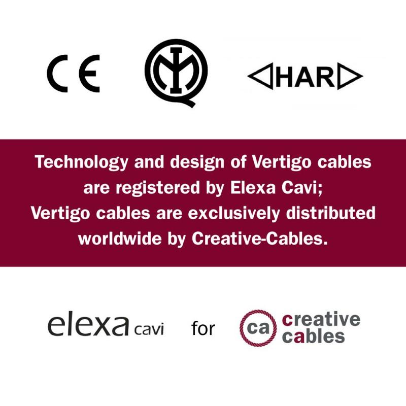 Textilní elektrický HD kabel se vzorem Optical Vertigo ERM64 - černá a stříbrná