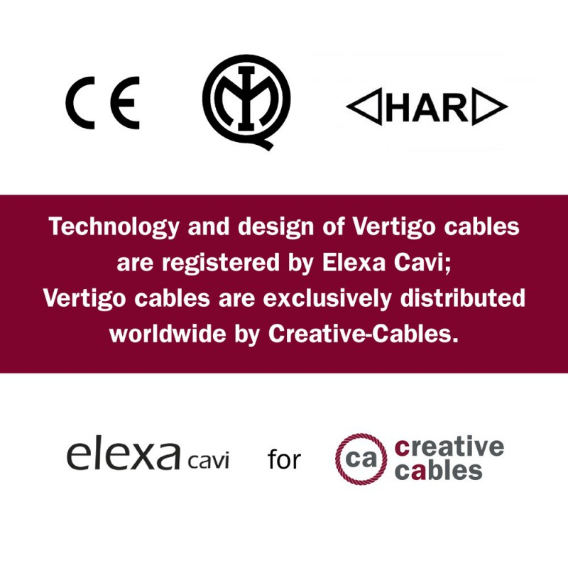 Textilní elektrický HD kabel se vzorem Optical Vertigo ERM67 - černá a šedá