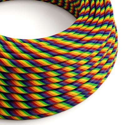 Textilní elektrický HD kabel barevný pruhovaný Vertigo ERM68 - duhový