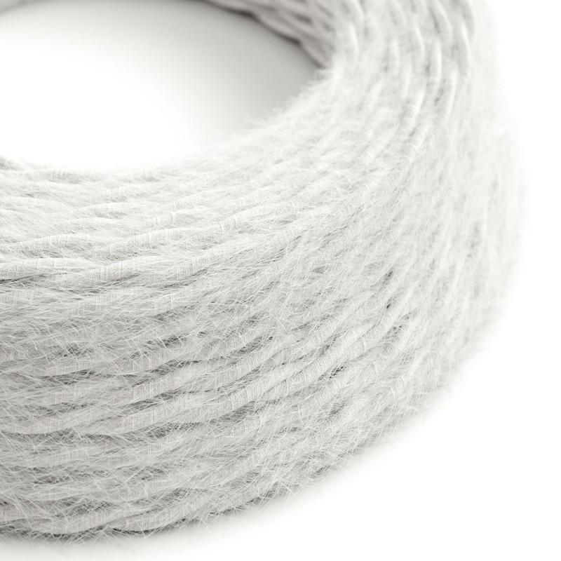 Burlesque - spirálový textilní elektrický kabel s chlupatým efektem TP01 Bílý