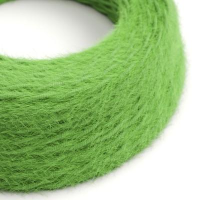 Burlesque spirálový textilní elektrický kabel s chlupatým efektem TP06 Zelený