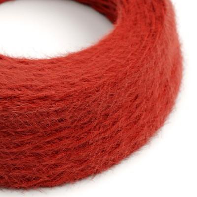 Burlesque spirálový textilní elektrický kabel s chlupatým efektem TP09 Červený