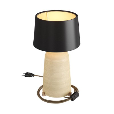 Bottiglia ceramic table lamp with Athena lampshade, complete with textile cable, switch and 2-pin plug