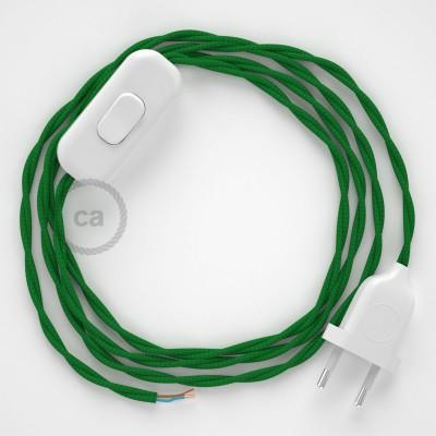 Napájecí spirálový textilní kabel 1,8m - hedváb - zelená TM06. Vyberte si barvu zástrčky a vypínače.