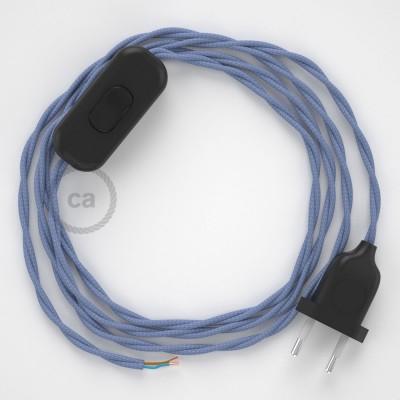 Napájecí spirálový textilní kabel 1,8m - hedváb - lila TM07. Vyberte si barvu zástrčky a vypínače.
