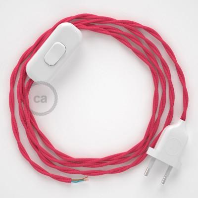 Napájecí spirálový textilní kabel 1,8m - hedváb - fuchsiová TM08. Vyberte si barvu zástrčky a vypínače.