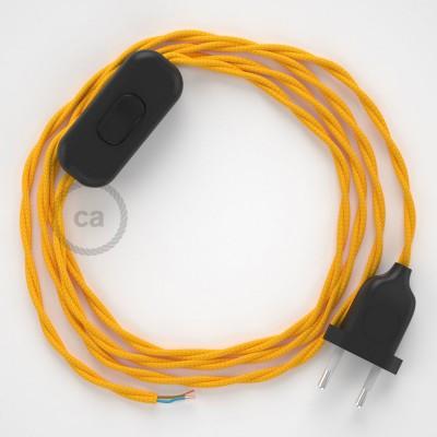 Napájecí spirálový textilní kabel 1,8m - hedváb - žlutý TM10. Vyberte si barvu zástrčky a vypínače.