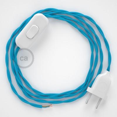 Napájecí spirálový textilní kabel 1,8m - hedváb - tyrkysový TM11. Vyberte si barvu zástrčky a vypínače.