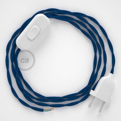 Napájecí spirálový textilní kabel 1,8m - hedváb - modrý TM12. Vyberte si barvu zástrčky a vypínače.