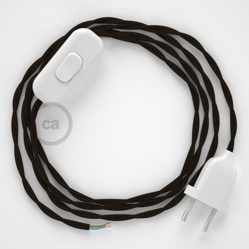 Napájecí spirálový textilní kabel 1,8m - hedváb - hnědý TM13. Vyberte si barvu zástrčky a vypínače.