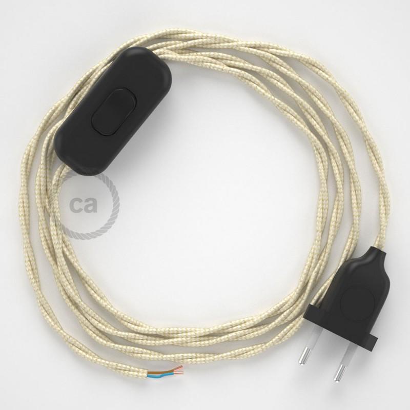 Napájecí spirálový textilní kabel 1,8m - hedváb - slonovinový TM00. Vyberte si barvu zástrčky a vypínače.