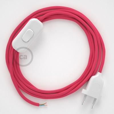 Napájecí kulatý textilní kabel 1,8m - hedváb - fuchsiová RM08 Vyberte si barvu zástrčky a vypínače.