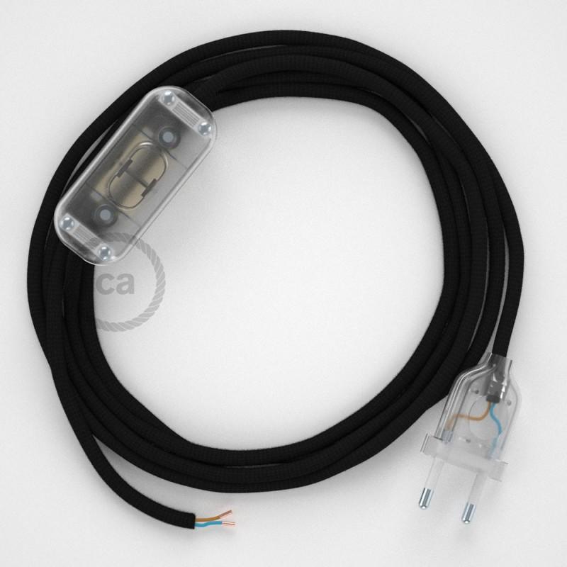 Napájecí kulatý textilní kabel 1,8m - hedváb - černá RM04 Vyberte si barvu zástrčky a vypínače.