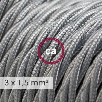 Textilní elektrický kabel se širším průměrem 3x1,5 - spirálový - umělý hedváb TM02 stříbrný