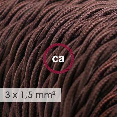 Textilní elektrický kabel se širším průměrem 3x1,5 - spirálový - umělý hedváb TM13 hnědý