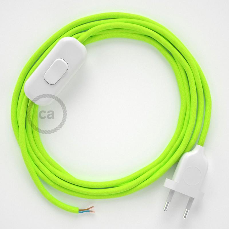 Napájecí kulatý textilní kabel 1,80 m - hedváb - neonová - žlutá RF10. Vyberte si barvu zástrčky a vypínače.