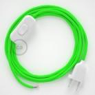 Napájecí kulatý textilní kabel 1,80 m - hedváb - neonová - zelená RF06. Vyberte si barvu zástrčky a vypínače.