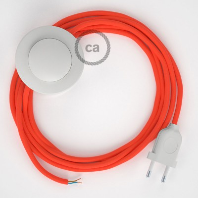 Napajecí kabel pro stojící lampu, RF15 neonový oranžový hedvábný 3 m. Vyberte si barvu vypínače a zástrčky.