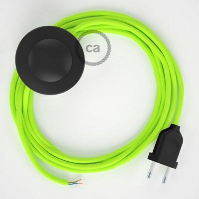 Napajecí kabel pro stojící lampu, RF10 neonový žlutý hedvábný 3 m. Vyberte si barvu vypínače a zástrčky.