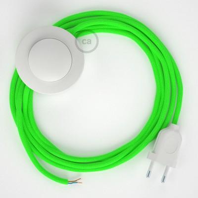 Napajecí kabel pro stojící lampu, RF06 neonový žlutý hedvábný 3 m. Vyberte si barvu vypínače a zástrčky.