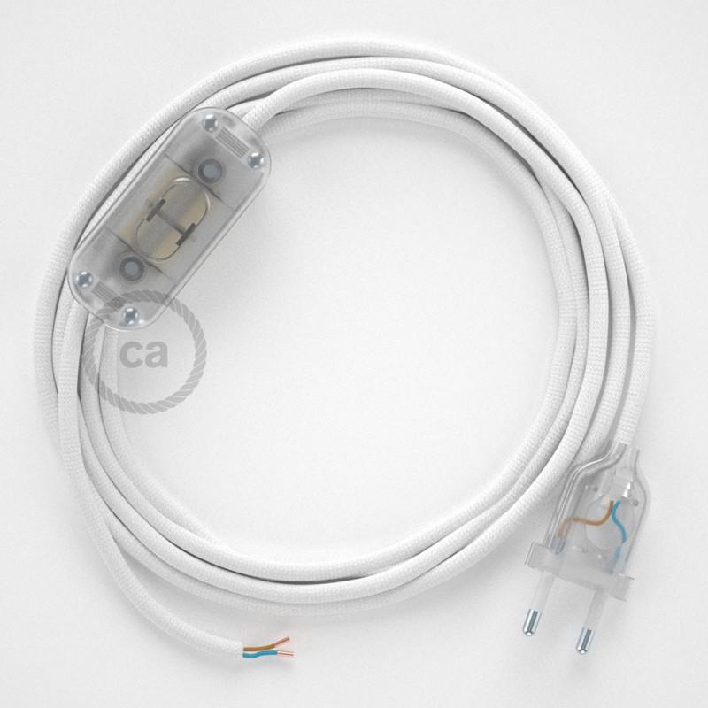 Napájecí kulatý textilní kabel 1,80 m - hedváb - bílá RM01. Vyberte si barvu zástrčky a vypínače.