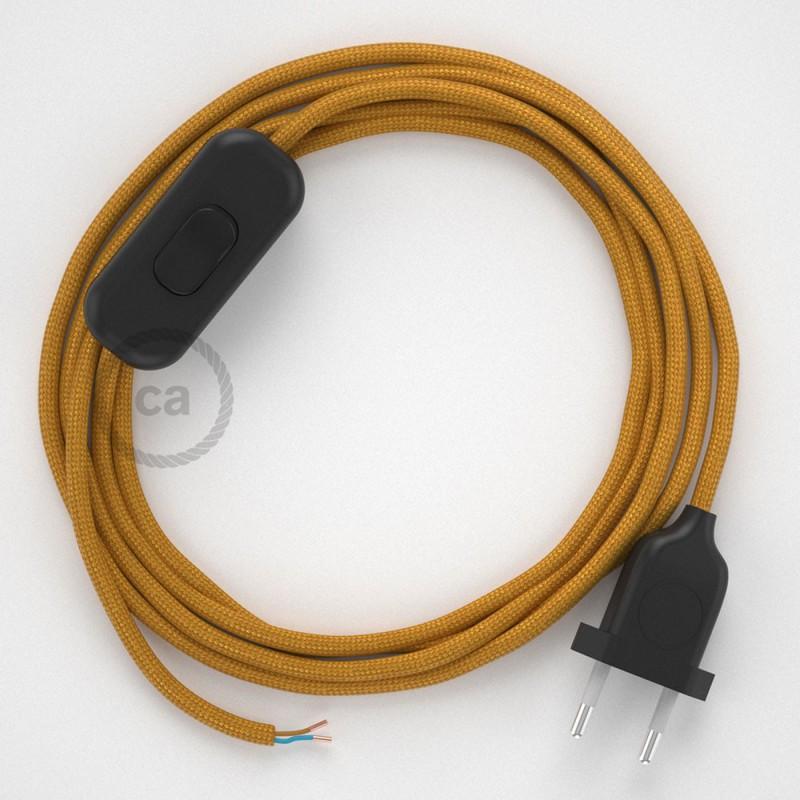 Napájecí kulatý textilní kabel 1,80 m - hedváb - zlatá RM05. Vyberte si barvu zástrčky a vypínače.