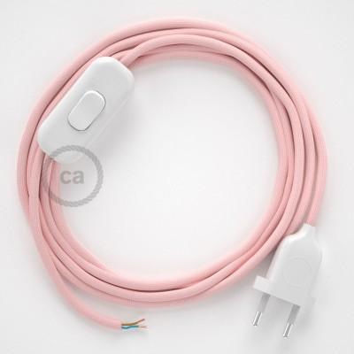 Napájecí kulatý textilní kabel 1,80 m - hedváb - růžová RM16. Vyberte si barvu zástrčky a vypínače.