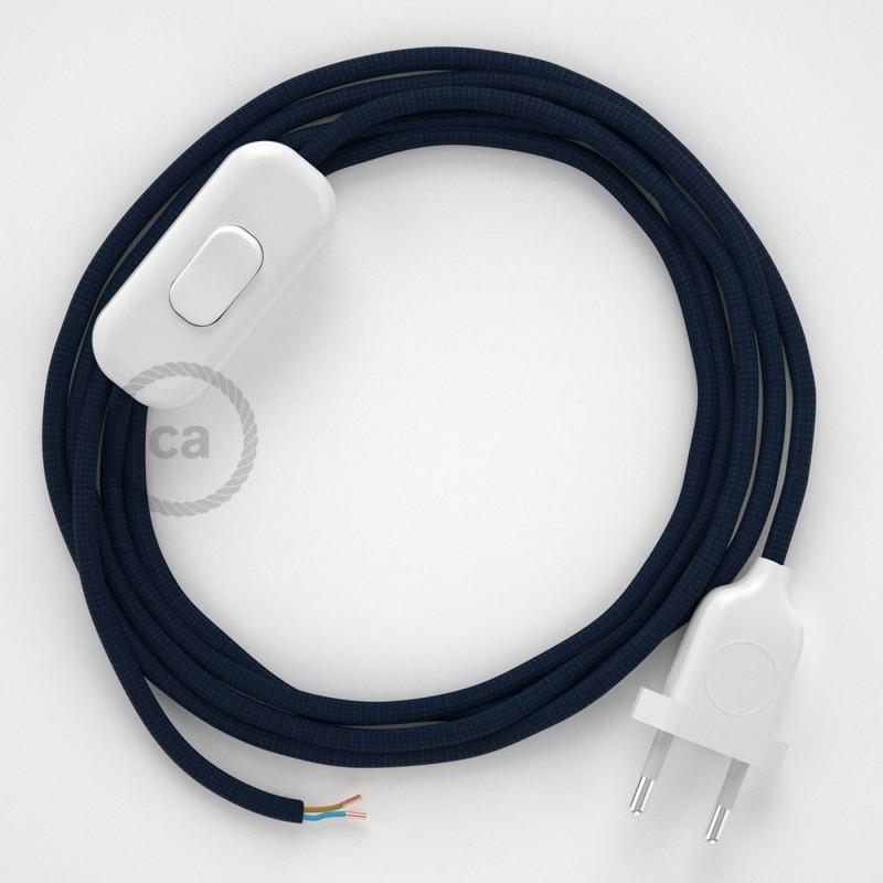 Napájecí kulatý textilní kabel 1,80 m - hedváb - tmavě modrá RM20. Vyberte si barvu zástrčky a vypínače.