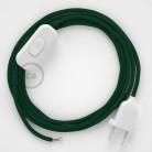 Napájecí kulatý textilní kabel 1,80 m - hedváb - tmavě zelená RM21. Vyberte si barvu zástrčky a vypínače.