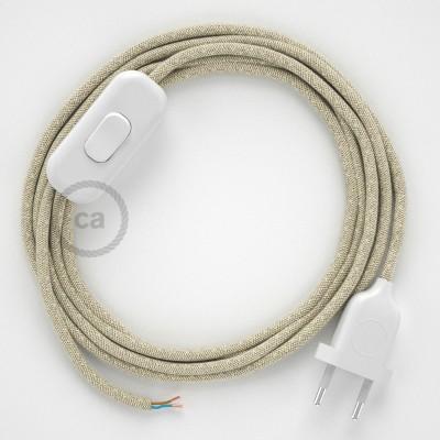 Napájecí kulatý textilní kabel 1,80 m - len - přírodní neutrální barva RN01.Vyberte si barvu zástrčky a vypínače.