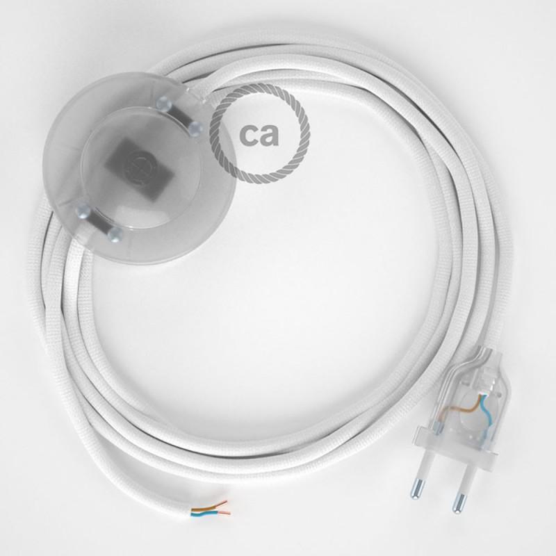Napajecí kabel pro stojící lampu, RM01 bílý hedvábný 3 m. Vyberte si barvu vypínače a zástrčky.