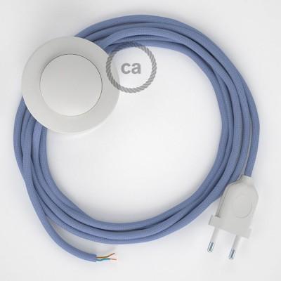 Napajecí kabel pro stojící lampu, RM07 lila hedvábný 3 m. Vyberte si barvu vypínače a zástrčky.