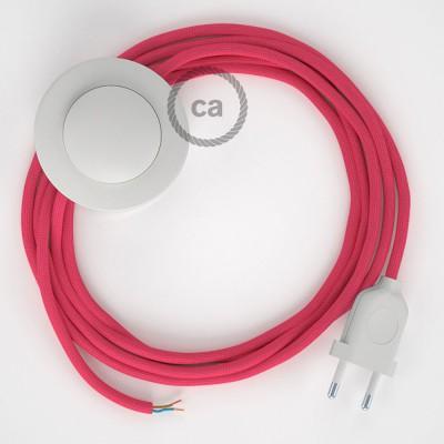 Napajecí kabel pro stojící lampu, RM08 fuchsiový hedvábný 3 m. Vyberte si barvu vypínače a zástrčky.
