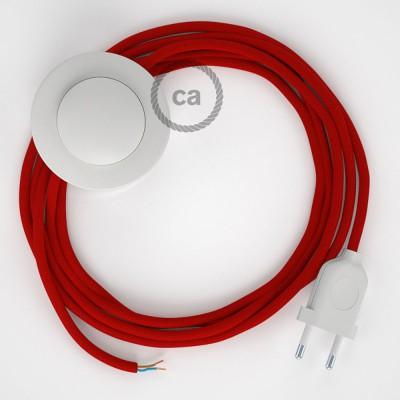 Napajecí kabel pro stojící lampu, RM09 červený hedvábný 3 m. Vyberte si barvu vypínače a zástrčky.