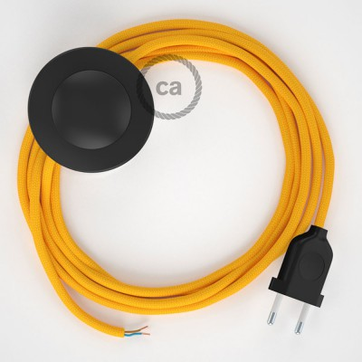 Napajecí kabel pro stojící lampu, RM10 žlutý hedbvábný 3 m. Vyberte si barvu vypínače a zástrčky.
