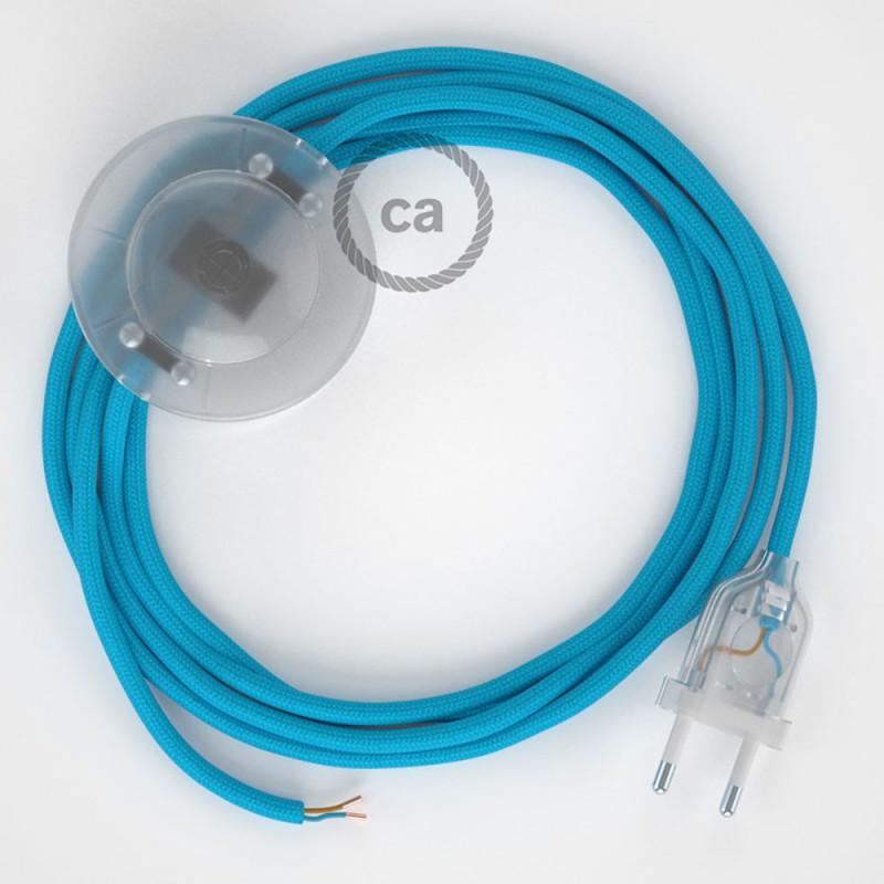 Napajecí kabel pro stojící lampu, RM11 tyrkysový hedvábný 3 m. Vyberte si barvu vypínače a zástrčky.